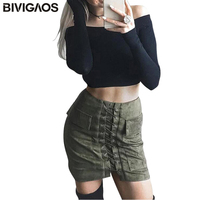 2017 New Hot Sale Womens Air Layer Suede Skirts Bind Pocket Sexy Mini Skirt Faux Suede
