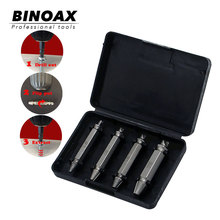 4Pcs Screw Extractor Drill Bits Guide Set Broken Damaged Bolt Remover Double Ended 1# 2# 3# 4#