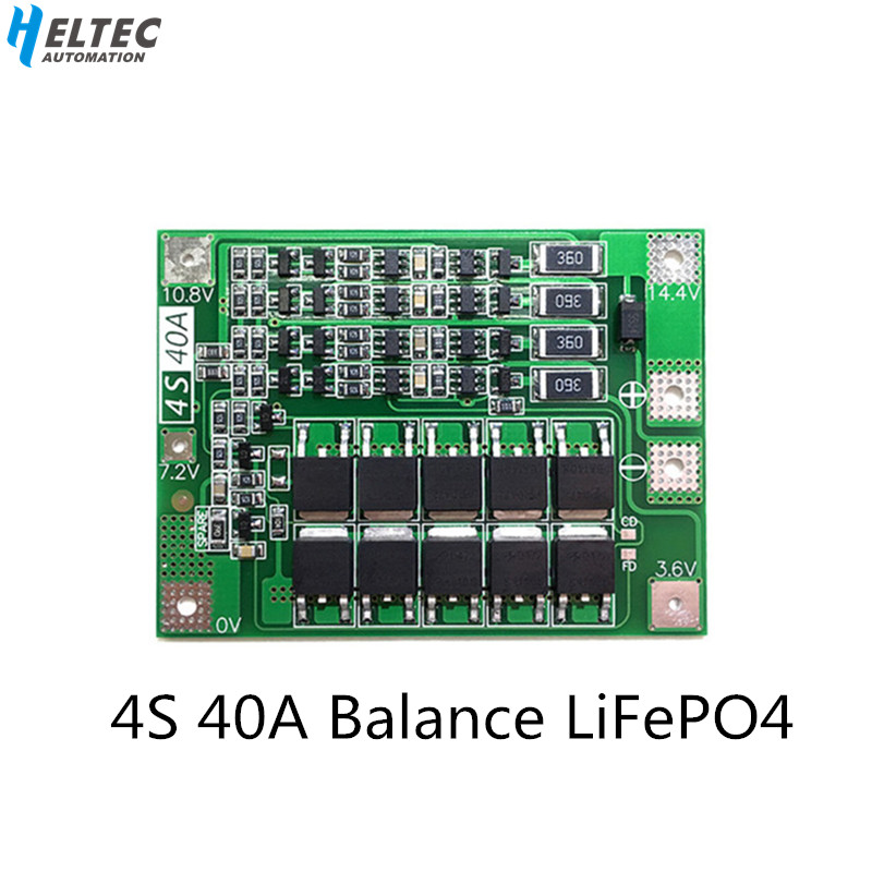 4S 40A 12.8V 14.4V 18650 LiFePO4 Battery Protection Board/ Lithium Iron  BMS With Balance