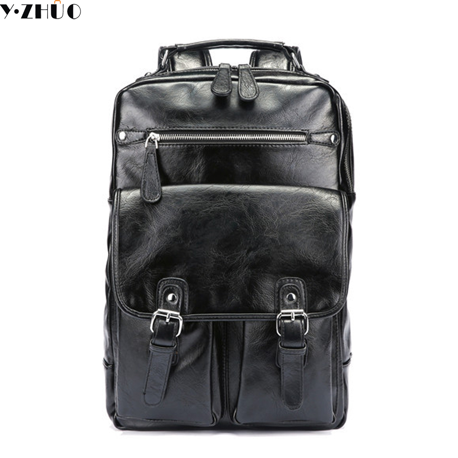 Y ZHUO Brand waterproof 15.6 inch laptop backpack men leather backpacks for teenager Men Casual Daypacks mochila male fashion