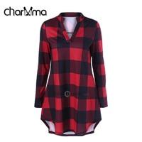 CharMma Striped Long Sleeve Female Shirt Autumn V Neck Long Big Size T Shirt Women Casual