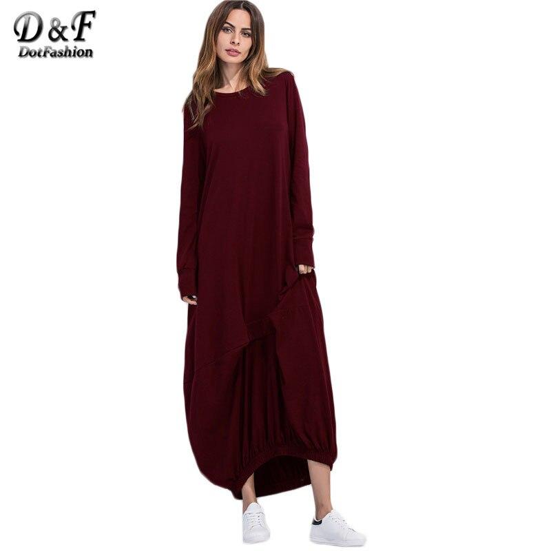 Dotfashion Loose Fashions Winter Dresses Casual Long Maxi Dress New Arrival Burgundy Elastic Hem Shift Dress