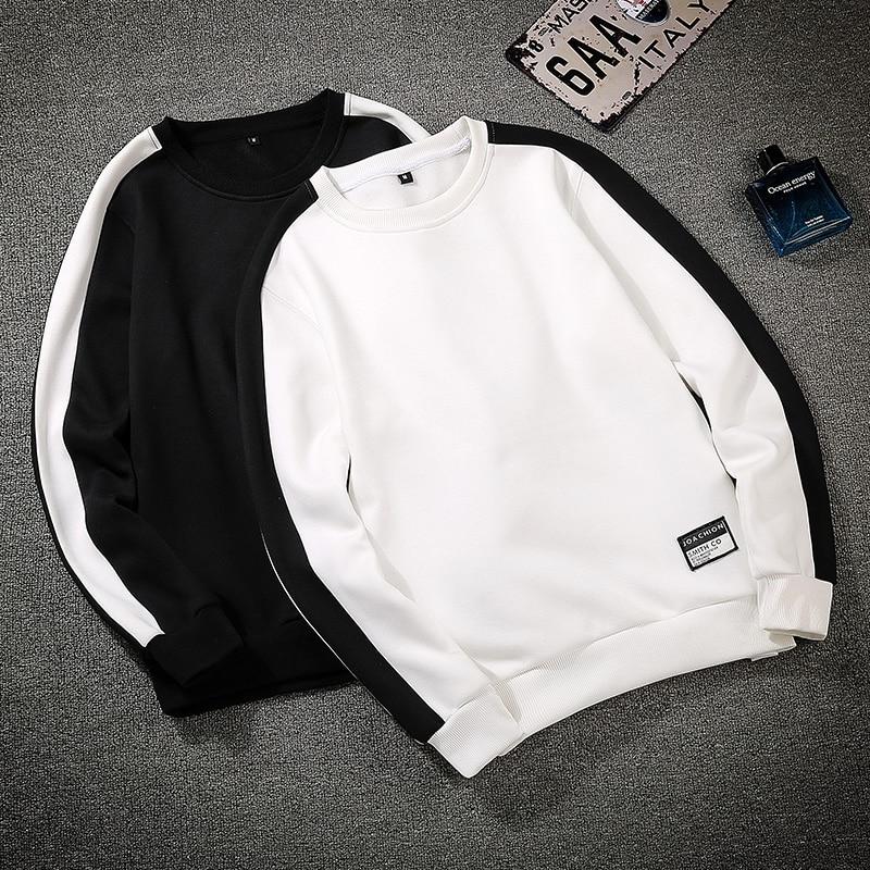 Men Patchwork Long Sleeve Pullover Crewneck Autumn And Winter Men's Sweatshirts Comfortable Black White Men's Sweatshirts