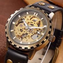 SHENHUA Men Watches Vintage Bronze Automatic Mechanical Skeleton Wrist Watches Men automatic self wind Watch relogio masculino