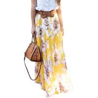 Hot Sale Women Bohemian Casual Vintage High Waist Long Skirts Chiffon Floral Printed Maxi Skirts