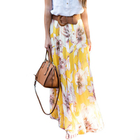 Hot Sale Women Bohemian Casual Vintage High Waist Long Skirts Chiffon Floral Printed Maxi Skirts