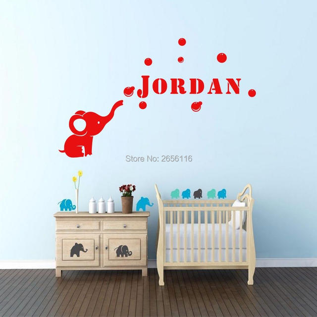 customized wall stickers personalized name bubble elephant vinyl