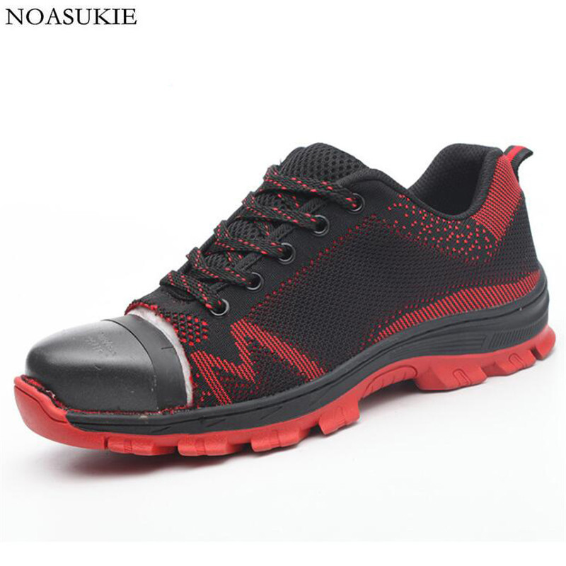 Men Mesh Breathable Safety Shoes Tennis Sneakers Pattern Casual Work Shoes Lightweight Anti Smashing Puncture Steel