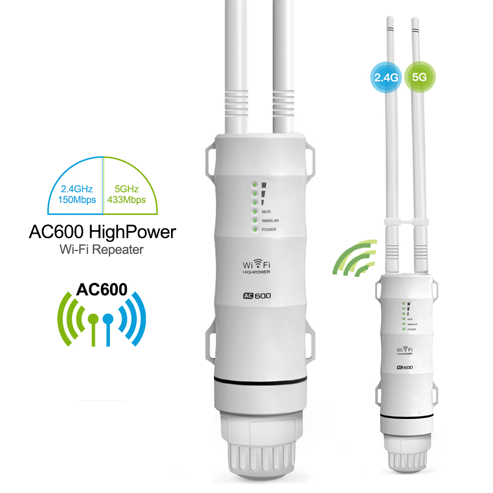Outdoor WiFi Repeater AC600 Router Amplifier Wi Fi Booster Outdoor AP Wi-Fi Extender WIPS Weatherproof 2.4G+5GHz Access Point(China)
