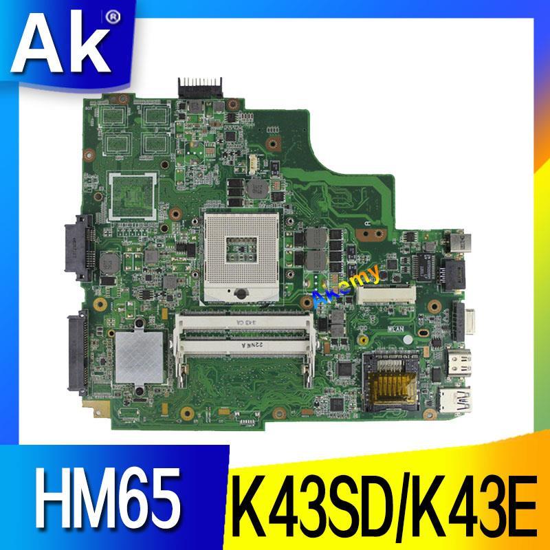 AK K43SD/K43E Laptop motherboard para ASUS K43E K43SD A43E P43E Teste mainboard original HM65