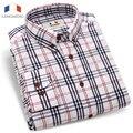 Langmeng Marca 2016 Nuevos Mens 100% Algodón A Cuadros Camisas de Los Hombres de Manga Larga Moda Casual Camisa Masculina Camisas de Vestir Chemise Homme