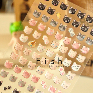 1 Pcs Scrapbooking Stickers Kawaii 3D Crystal Deco Cat Planner Stickers/Decoration Label Office Supplies