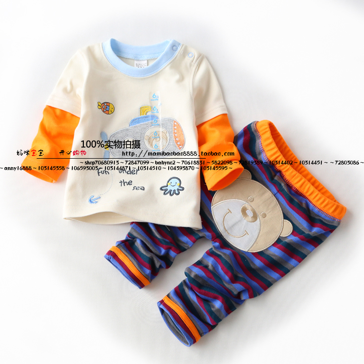 new 2014 Spring and autumn child clothing set children 100% cotton t shirts + kids pants sets baby boy Cartoon sports suit