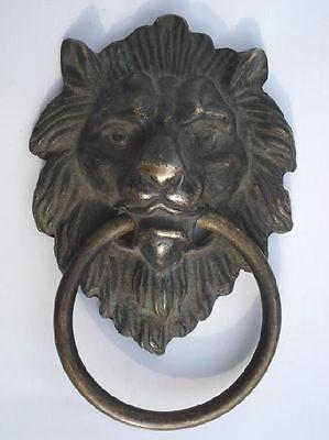 Отмечены Китайский Латунь Лев, головой дверной молоток 4.4 высота украшения сада 100% натуральная латунь