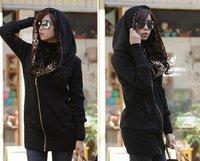 Wholesale Free Shipping New Winter Women Korean Long Sleeve Thicken Cardigan Hooded Sweater Coat