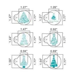 Image 3 - 6 יח\סט חג המולד עץ עוגת תחרה סטנסילים מסיבת חתונת קוקי עובש Cupcake קישוט תבנית עוגת כלי
