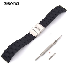 Send tool! 18mm, 20mm, 22mm, 24mm New Silicone Rubber Watch Strap Band Deployment Buckle Waterproof BLack Watchband For casio