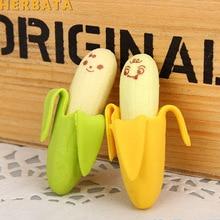 Novelty Pencil-Eraser Rubber School-Stationery Gift Kids Cute 2pcs/Lot Banana-Shaped