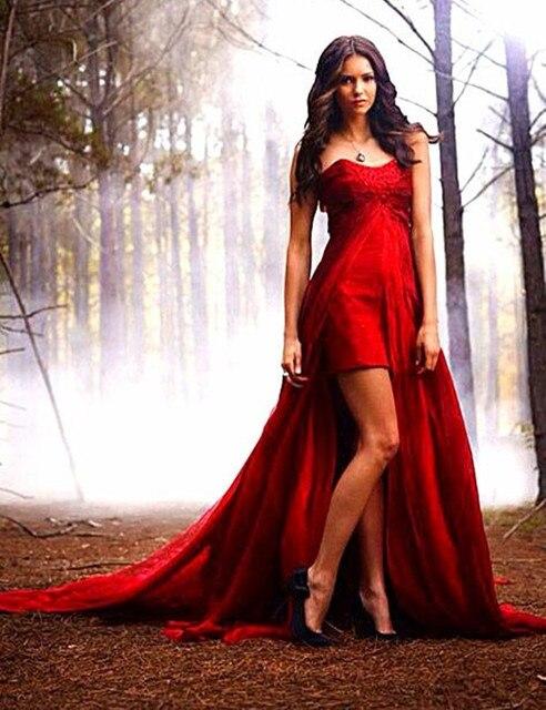 Dark Red High Low Prom Dress Elegant Beaded Chiffon Prom