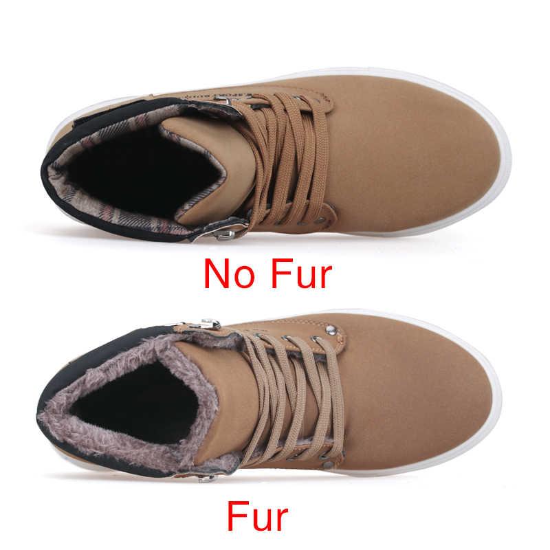 DEKABR 2019 Sıcak erkek ayakkabısı Moda Sıcak Kürk Kış Erkek Botları Sonbahar Deri Ayakkabı Adam Için Yeni Yüksek Top Kanvas rahat ayakkabılar erkekler
