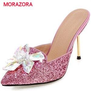 Image 1 - MORAZORA Summer sandals women shoes rhinestone thin high heels shoes 9.5cm party shoes elegant pointed toe large size 34 43