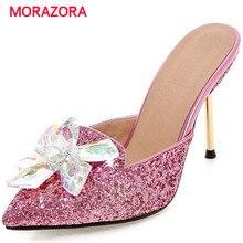 Morazora sandálias de verão sapatos femininos strass finos sapatos de salto alto 9.5cm sapatos de festa elegante dedo do pé apontado tamanho grande 34 43