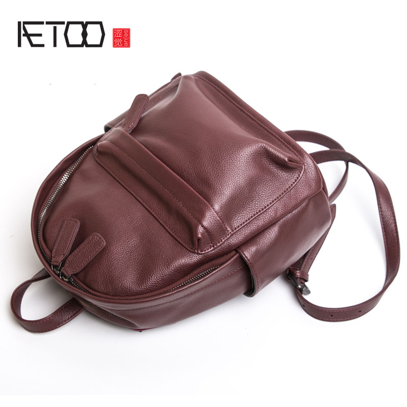 AETOO Full cowhide backpack female Korean fashion handmade leather new college wind wild shoulder bag flb12084 hamburg s new fashion backpack shoulder bag college wind backpack schoolbag shoulder bag personality