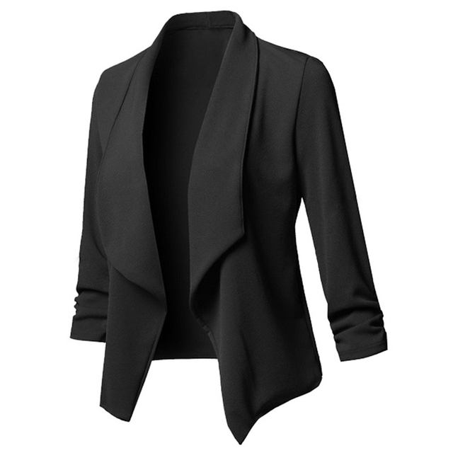 Women Solid Blazers Cardigan Coat Long Sleeve women blazers and jackets Ruched Asymmetrical Casual Business Suit Outwear 2018