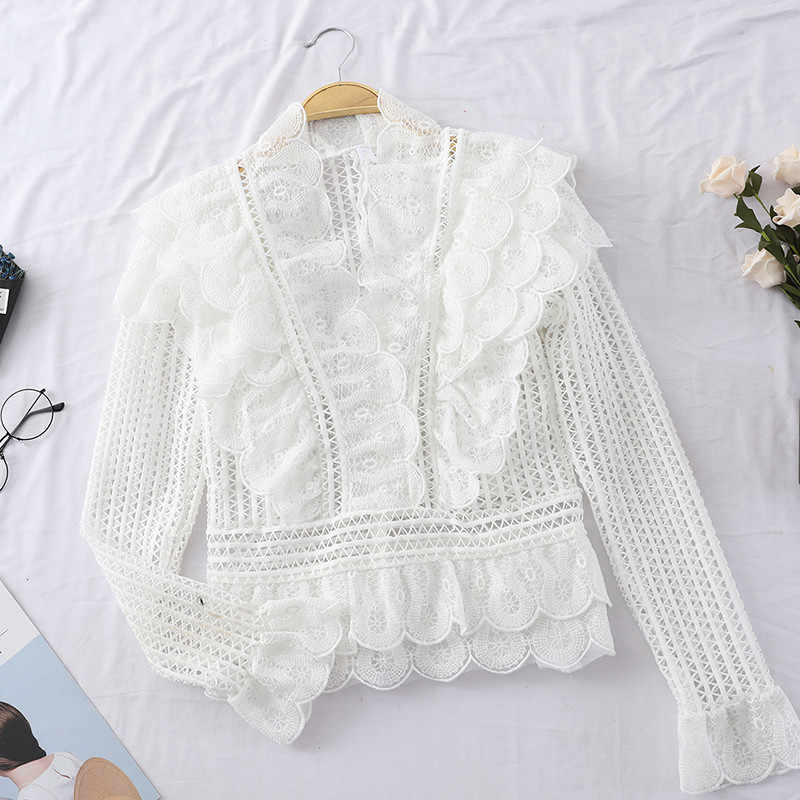 5d97af2f7d175a ... Vintage Palace Style Ruffle Peplum Tops Ladies Summer Hollow Out White  Lace Blouse Shirts Long Sleeve ...