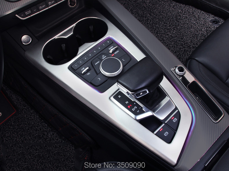 For Audi A4 B9 Sedan AT LHD Chrome Car Console Gear Shift Panel Cover Sticker Strip Trim Decoration Garnish Car Styling