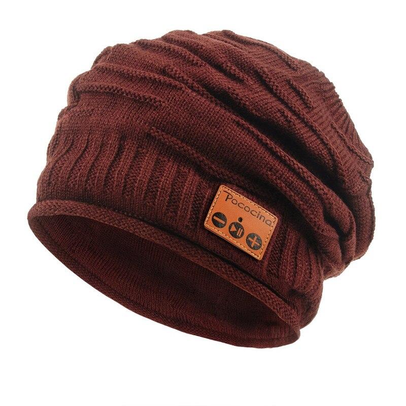 Bluetooth Beanie шляпа с перезаряжаемой унисекс беспроводной Beanies панель управления съемные стерео наушники шерсть вязать музыкальное бини - Цвет: Коричневый