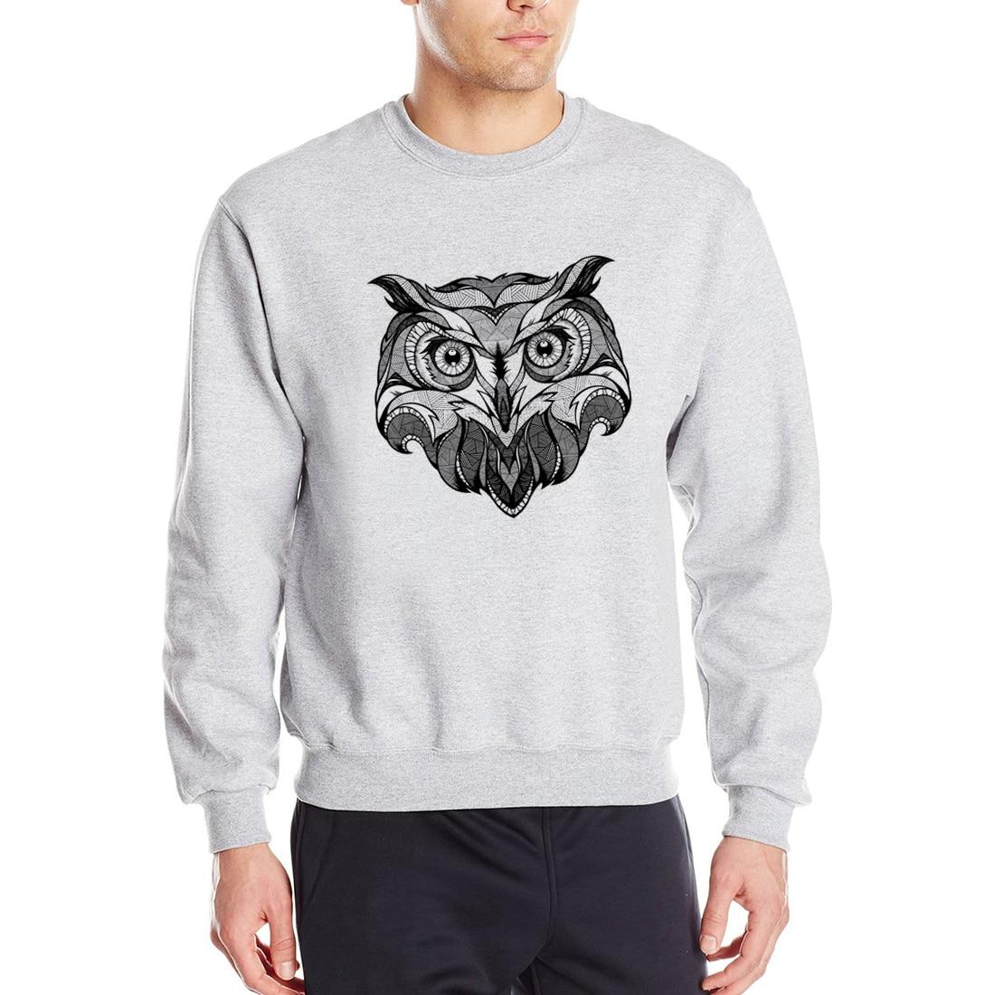 2019 Spring Owl Animal Men Sweatshirts Hoodies Black White Gray Red Blue Sweatshirt Fleece Men's Hoody Hip Hop Streetwear CM01