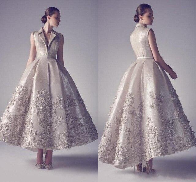 7b0cc7ee45ccb8 2016 herbst Kurze Abendkleider Eine Linie V-ausschnitt Bodenlangen Satin  Appliques Luxus-formale Kleid