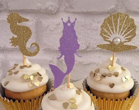 glitter under the sea Ariel cupcake toppers sea animal Birthday