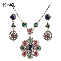 2017 New Indian Jewelry Set Gold Plated Necklaces And Earrings For Women Love Crystal Flower Resin