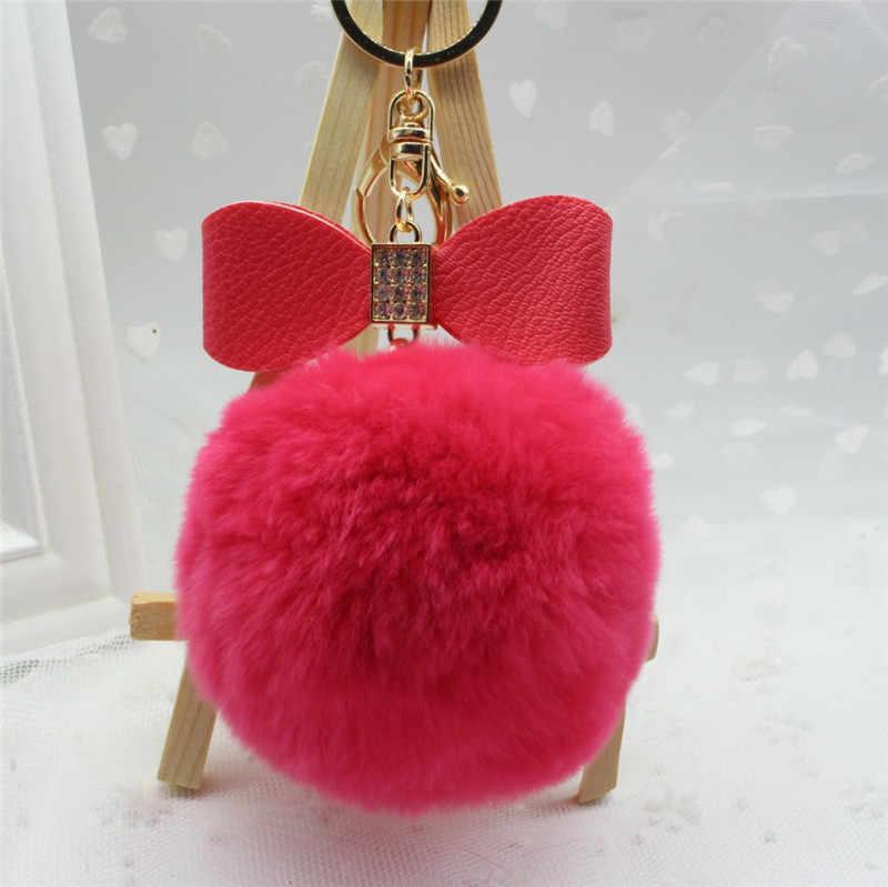 Nova chave da cadeia de arco-nó bola de pêlo de coelho pom pom pingente charme saco keychain de cristal chaveiro presente da jóia K1101