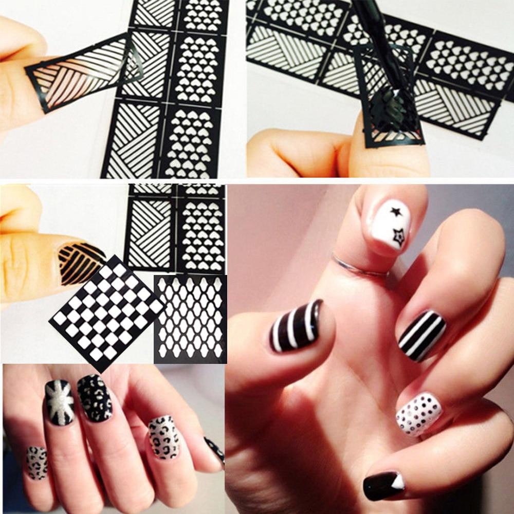 1 Blatt Mode Frauen Nagel Vinyls Nail art Maniküre Schablone ...