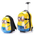 2PCS/Set child anime School bag Tourism boy luggage suitcase animal cartoon 17 inch travel trolley case Boarding box kids gift