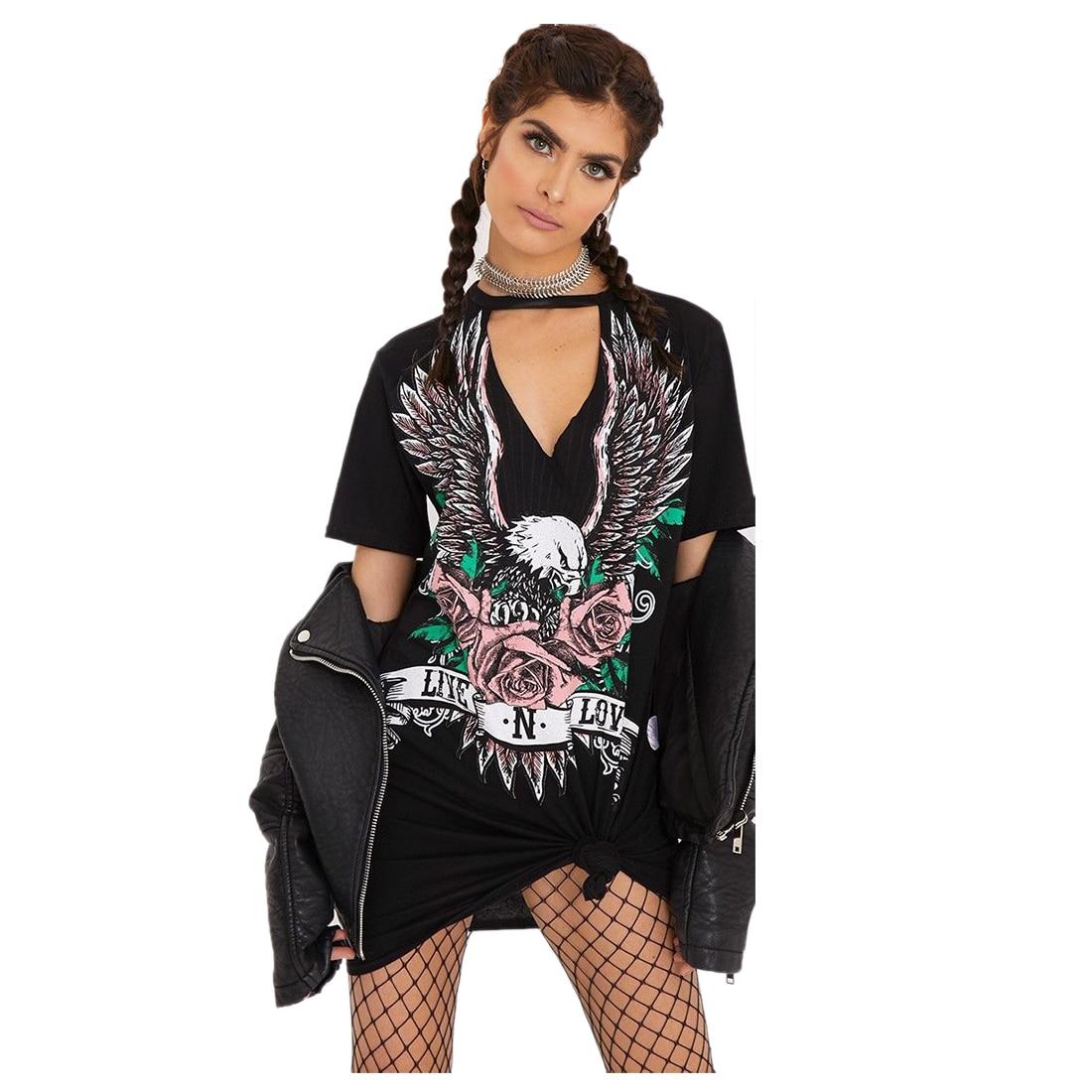f7b4a254d18a TFGS Women's New Fashion Sexy V Neck Dress Print Punk Rock Rose Eagle  Halter T Shirt Dress Short Sleeve Casual Loose Summer Mi