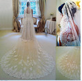 In Stock 3 Meters Long Wedding Veil Bridal Veils White / Ivory Lace Edge With Comb Wedding Accessories voile  2016