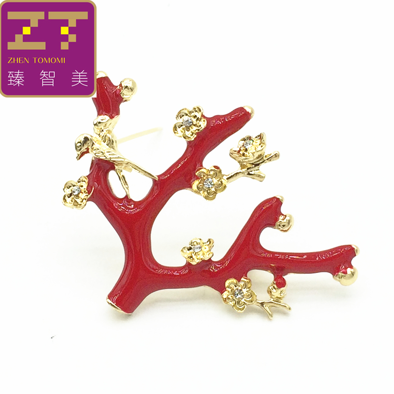 Hot Fashion Bird Red Twigs Romantic Flower Crystal Metal Collar Pin Brooches For Women Brooch Pins Safety Jewelry For Weddings
