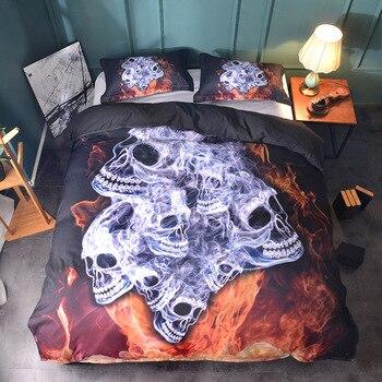 Duvet Cover English style Flame cool skull black white warm family 2/3pcs Duvet Cover Sets Soft Polyester Quilt cover pillowcase