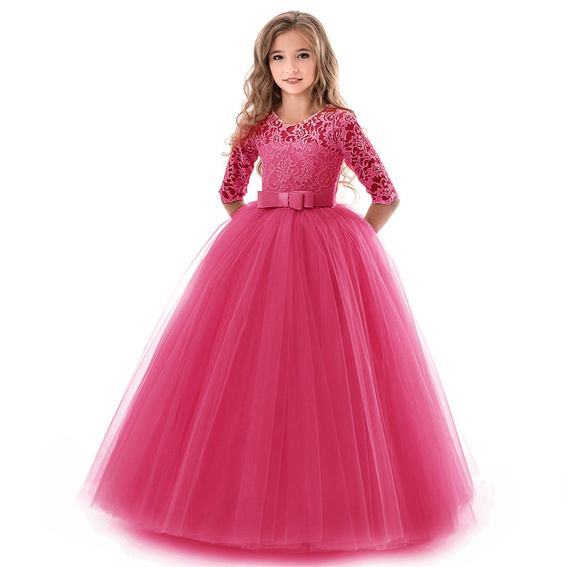 Beauty Emily O Neck Half Sleeve Flower Girl Dress 2019 Princess Ball Gown Lace Wedding Party Dresses Multi Colors Available