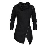 Plus Size Autumn Winter Jacket Coats Women Fashion Gothic Black Wrap Split Turtleneck Slim Overcoat Casual Ladies Coats Outwear