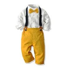 Criança menino roupas camisa branca + calças amarelas 1 6 t crianças traje meninos terno outono infantil conjunto de roupas criança arco amarelo
