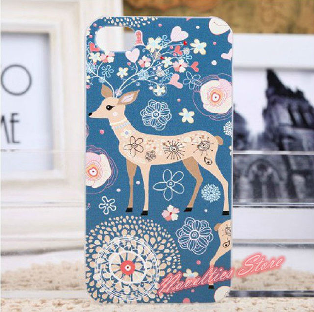 Embossed Color Drawing Vintage Sika Deer Case Cover for iPhone 4, 4S, Painted Scrub Protective PC Hard Cover Case for iPhone 5
