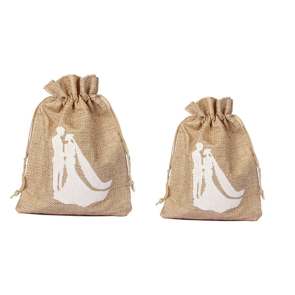 2 Sizes Trendy Natural Color Linen Drawstring Wedding Favor Bags ...