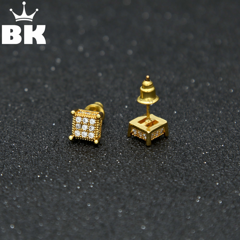 Mens 7mm Square Button CZ Stud Earrings Hip Hop Copper Micro Paved Cubic Push Back Earring Party Jewelry