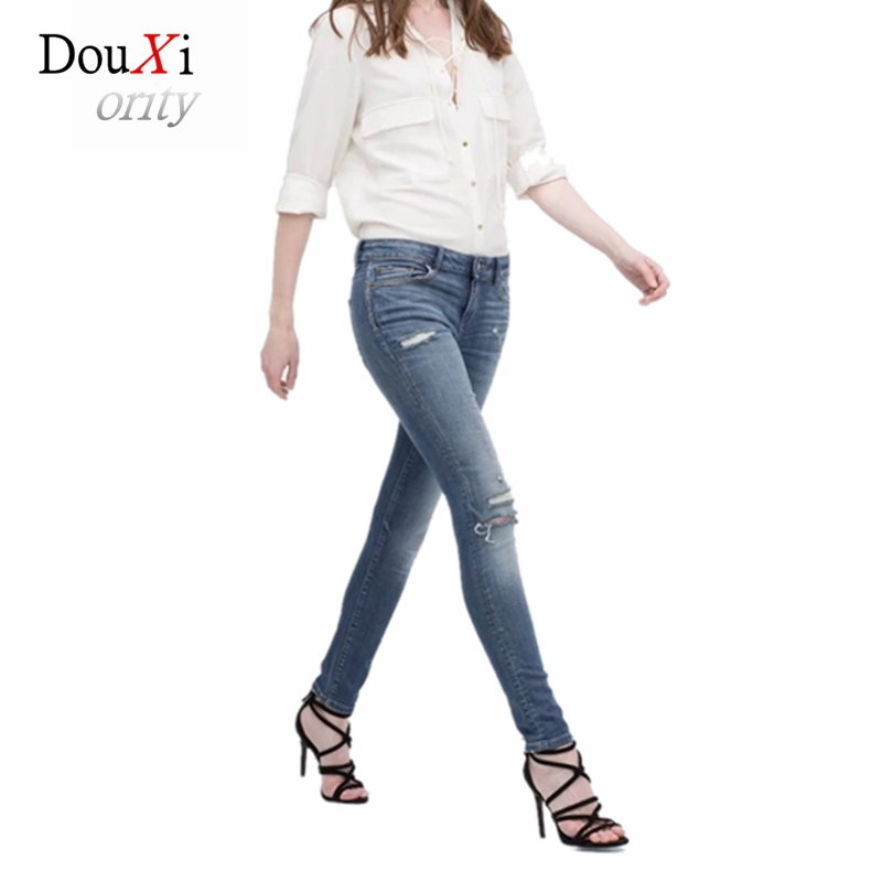 2017 Europe and the United States Knee-Hole Vintage Women Summer Jeans Long Pencil Pants Cotton Slim Stretch Skinny Washed Denim