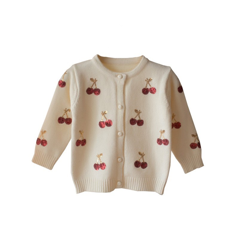 2018 Cherry Knitted Baby Girls Sweaters Kids Autumn Sweater Children Cardigan Girls Sequined Outerwear Winter Clothes